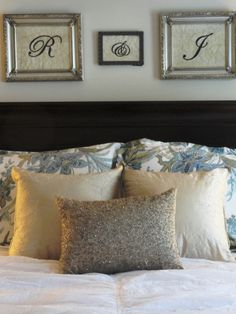 Master bedroom- Home Goods decorating. Love the framed initials. Master Bedroom Bathroom, Bedroom Decor, Bedroom Ideas, Wall Decor, Home Goods Decor, Home Decor, Interior Decorating, Interior Design, Decorating Ideas