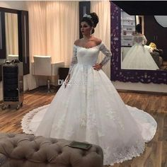 Custom Made Sheer Long Sleeve Wedding Dresses Off Shoulder Chapel Train Vintage Lace Covered Button 2017 Arabic Bridal Wedding Gowns Cheap Wedding Dresses 2017 Long Sleeve Bridal Gowns Online with 165.0/Piece on Toprated's Store   DHgate.com