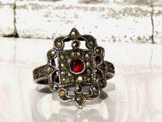Vintage Sterling Marcasite Garnet Ring Art Deco Style Engagement Ring Scalloped Edge Filigree Ring January Birthstone Marcasite Wedding Ring
