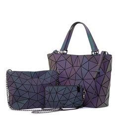 Lovevook women handbag luxury shoulder bag set folding Totes crossbody bag female purse and wallet for ladies luminous geometric Crossbody Shoulder Bag, Shoulder Handbags, Leather Shoulder Bag, Shoulder Bags, Shoulder Strap, Tote Purse, Purse Wallet, Crossbody Bags, Lady