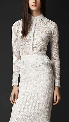 fdbea606ff5 English Lace Fitted Shirt Burberry Prorsum