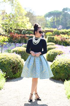 Blue High Low Full Skirt by KTRcollection