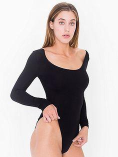 Cotton Spandex Jersey Double U-Neck Long Sleeve Bodysuit