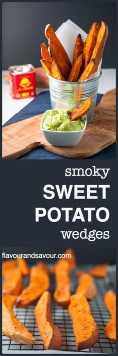 Smoky Sweet Potato Wedges that don't stick to the pan! Discover the secret to crispy fries and potato wedges and never have to scrape them off the pan again. Serve with avocado aioli.  www.flavourandsavour.com
