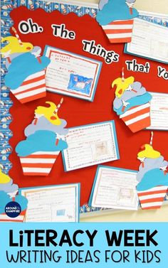 Creative and fun Literacy Week ideas with free bulletin board templates and writing activities ideal for and grade students. See how we gave a gift to an author and decorated our door and bulletin boards to celebrate Read Across America. Hands On Activities, Writing Activities, Reading Bulletin Boards, Read Across America Day, Personal Narrative Writing, Teaching Jobs, Teaching Kindergarten, First Grade Classroom, Cool Writing
