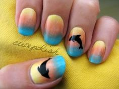 Sunset Dolphin Nails -- heading to FL in a week, the girls and I will be doing this for our trip.