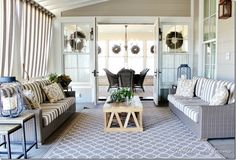 French doors opening out onto a screened in porch: 20 Decorating Ideas from the Southern Living Idea House - Thistlewood Farm Farmhouse Front Porches, Screened In Porch, Living Room Decor, Living Spaces, Dining Room, Installing French Doors, Thistlewood Farms, Ikea, Porch Decorating