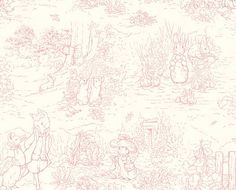 fabric - Peter Rabbit Toile (pink) Beatrix Potter sketches on a pink toile fabric. A classic selection from the
