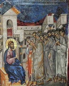 Holy and Great Thursday. The Lord explains the meaning of the washing of the Apostles' feet. Fresco in Vatopedi Monastery, Mt. Byzantine Icons, Byzantine Art, Religious Icons, Religious Art, The Transfiguration, Images Of Christ, Christian Artwork, Holy Week, Art Icon