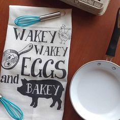 Flour Sack Cloth Towels- Wakey Wakey Eggs and Bakey - Kitchen Decor - Kitchen Towel-Breakfast-I Smell Bacon-Farmhouse Decor-Bacon and Eggs by RandRretailtherapy on Etsy https://www.etsy.com/listing/272675564/flour-sack-cloth-towels-wakey-wakey-eggs