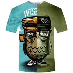 9004879e Summer Mens T Shirts Novelty Smoking Owl 3d T Shirt Men Casual Tee Shirt  Camisa Masculina Plus Size 5XL-in T-Shirts from Men's Clothing &  Accessories on ...