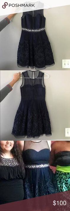 Navy Blue Homecoming Dress This is a navy blue homecoming dress with a little sparkle around the waist Dresses Mini