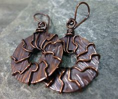 Hand Forged and Wire Wrapped Copper Rounds by PattiVanderbloemen, $15.00