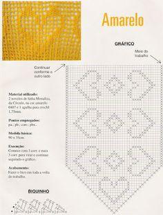 Crochê com Estela: Caminho de Mesa com Gráfico Amarelo