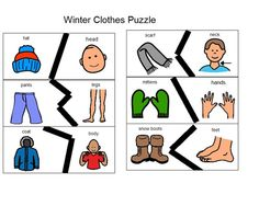 """*****Winter Clothes Puzzles - Print on cardstock and laminate; Good for body parts and """"where"""" questions. Autism Activities, English Activities, Winter Activities, Autism Classroom, Preschool Classroom, In Kindergarten, Winter Clothes, Winter Outfits, Clothing Themes"""