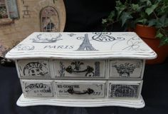 Upcycled Jewelry Box Paris Theme Wood Finished in Annie Sloan Chalk Paint Old White With Decoupaged Parisienne Theme Fabric Panels