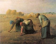 The Gleaners (Des glaneuses) is an oil painting by Jean-François Millet completed in 1857. It depicts three peasant women gleaning a field of stray grains of wheat after the harvest. The painting is famous for featuring in a sympathetic way what were then the lowest ranks of rural society; this was received poorly by the French upper classes.