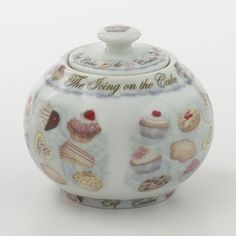 Cupcakes and Cookies Sugar Bowl by Cardew,   Pattern introduced in 2011  12 ounce capacity with lid