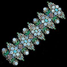 Silver, moonstone, opal, amethyst, chalcedony & ruby bracelet c. 1930  nfs