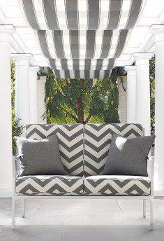 F. Schumacher's 'Cote d'Azur' outdoor fabric collection. Love the chevron pattern!