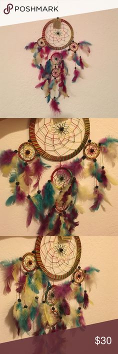 Dream Catcher As legend has it by hanging a dream catcher over your sleeping area the bad dreams will be deterred by the bead in the middle. The feather will attract and allow the good dreams to pass thru. Red, Green, and Yellow Melayni.com Other