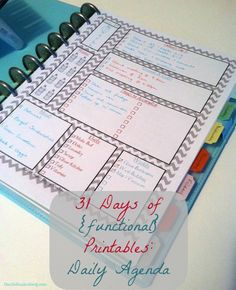 Day One - Daily Agenda This Daily Agenda Printable is the cornerstone of my planner. I fill a week's worth out each Sunday and they are easy at hand for jotting down notes of things that need to b...