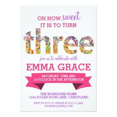 388 best 3rd birthday party invitations images on pinterest 23 candy theme 3rd birthday party sprinkles invite filmwisefo