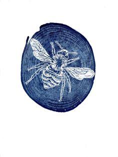Bee woodcut, woodblock print, printmaking, prussian blue, bee print, bumblebee Impression Textile, Prussian Blue, Linocut Prints, Art Prints, Linoleum Block Printing, Insect Art, Bee Art, Print Making Art, Woodblock Print