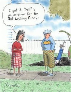 Funny Fridays! Enjoy this cartoon strip to brighten your day! Golf Humor, Funny Golf, Thema Golf, Golf Cart Accessories, Fashion Accessories, Golf Party, Golf Quotes, Golf Lessons, Ladies Golf