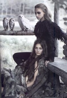 MODERN MYTH- a modern witch representation with the use of feathered and fur clothing as well as the owls which have a link to magic and wisdom.