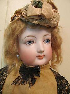 "25"" Beautiful Antique FG French Fashion Doll Original Earings"