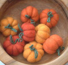 6 big felted Pumpkins and 6 big acorns autumn decor by astashtoys