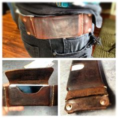 Leather iPhone Belt Holster #fashion #accessory #leathercraft