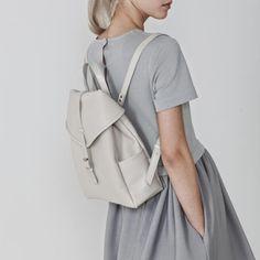 Grey leather backpack, chic minimalist style // Asya Malbershtein