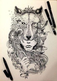 Tattoo sketch -Wolf