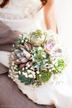 7 Tips To Pull Off A Budget Wedding (and Pictures!) - Vintage Revivals. Also loving the succulent bouquet