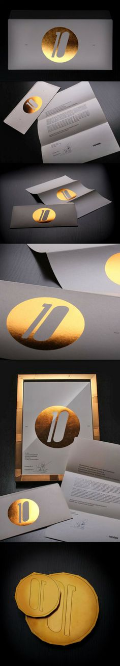 METALLIC INK - Example of a Gold Metallic print. Metallic inks are utilised for style. It gives a shiny metal effect. It is very common with foil stamping.