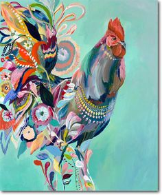 "Unique & Affordable Artwork¦Selling Art like Starla Michelle Halfmann's ""Rooster"" Responsibly Rooster Painting, Rooster Art, Chicken Painting, Chicken Art, Chicken Animal, Art And Illustration, Illustrations, Arte Do Galo, Art Abstrait"