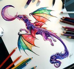 39- Rainbow Dragon Tatoo Commission by Lucky978.deviantart.com on @DeviantArt