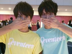 """Question! Which is which?"" Taishi was said a lot this year as well that you n Sota looked so much alike. lol Sota Fukushi x Taishi Nakagawa, girl's magazine ""Seventeen"" Fes, Aug/25/'15"