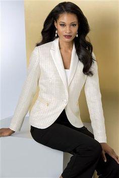 Zip-Pocket Bouclé Blazer: This blazer takes it up a notch with beautiful bouclé texture, shimmery metallic threads and fun zipper details. T...