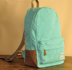 Minty fresh for school. We love this #mint colored backpack with white polka dots. #mintcondition #backpack