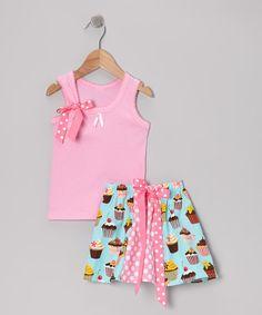 Inspiration  Pink & Aqua Sweet Tooth Tank & Skirt - Girls