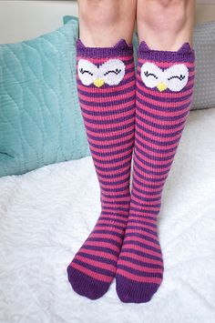 "Ravelry: ""Check Meowt!"" Cat, Owl, and Panda Knee High Socks pattern by Lauren Riker"