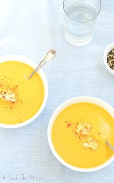 Roasted Sweet Potato and Cauliflower Soup |A Finn In The Kitchen