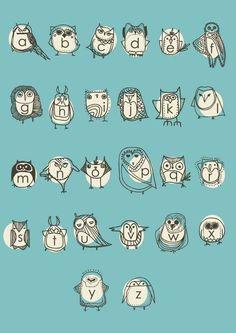 owl alphabet by gingiber