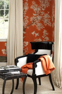 I love how complementary this wallpaper, chair and throw are to each other
