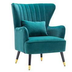 Teal Armchair, Wingback Accent Chair, Velvet Wingback Chair, Teal Accent Chair, Accent Chairs, Teal Living Rooms, Living Room Decor, Devon, Single Chair