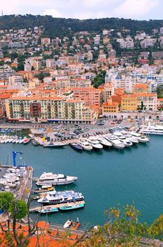 Port of Nice, French Riviera, France.  Nice has a mild Mediterranean climate which came to the attention of the English upper classes in the second half of the 18th century, and an increasing number of aristocratic families spent their winter there.