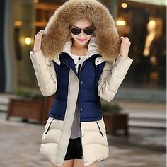 Women's Fashion Splicing Big Fur Collar Long Slim Down Coat(More Colors) – USD $ 56.99